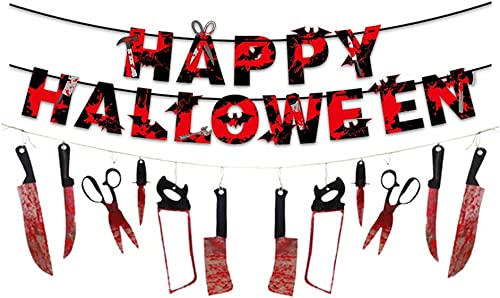 new arrival Halloween Bloody Garland Banner, Halloween House sale Decor, Vampire Decorations, for Haunted House Bar Office Home Indoor Outdoor Yard Décor outlet sale Weapons Hanging Banner outlet sale