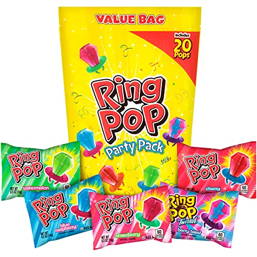 Ring Pop Individually Wrapped Bulk Variety Party Lollipop Suckers with Assorted Flavors Fun Candy for Birthdays & Celebrations, Original, Mixed Fruit, 20 Count