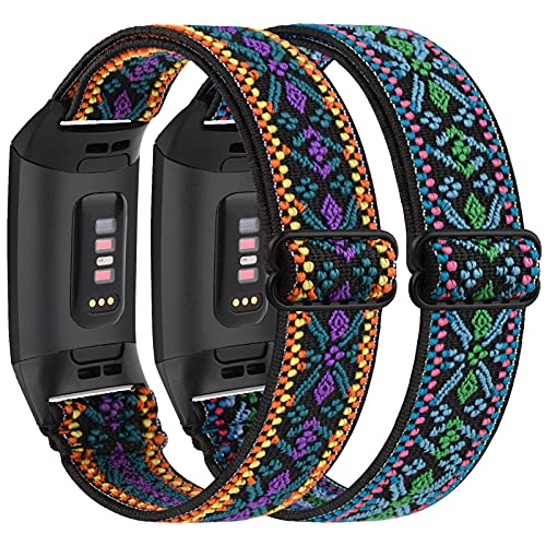 Vancle 2 Stück Elastische Armband Kompatibel für Fitbit Charge 3 Armband/Fitbit Charge 4 Armband, Verstellbares Nylon Dehnbar Ersatzarmband für Fitbit Charge 3/Charge 4/Charge 3 SE (Böhmen grün+lila)