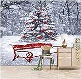 Murales Papel Pintado,Escena de nieve de arbol de navidad Wallpaper Art Póster De Impresión HD De Salón Decoracion Gran Mural De Seda,200Cm(W)×140Cm(H)
