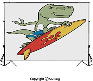 7x7Ft Vinyl Reptile Backdrop for Photography,Funny Surfing Trex in Water on Plain Background Safari Flame Cool Fictional Artsy Background Newborn Baby Photoshoot Portrait Studio Props Birthday Party B
