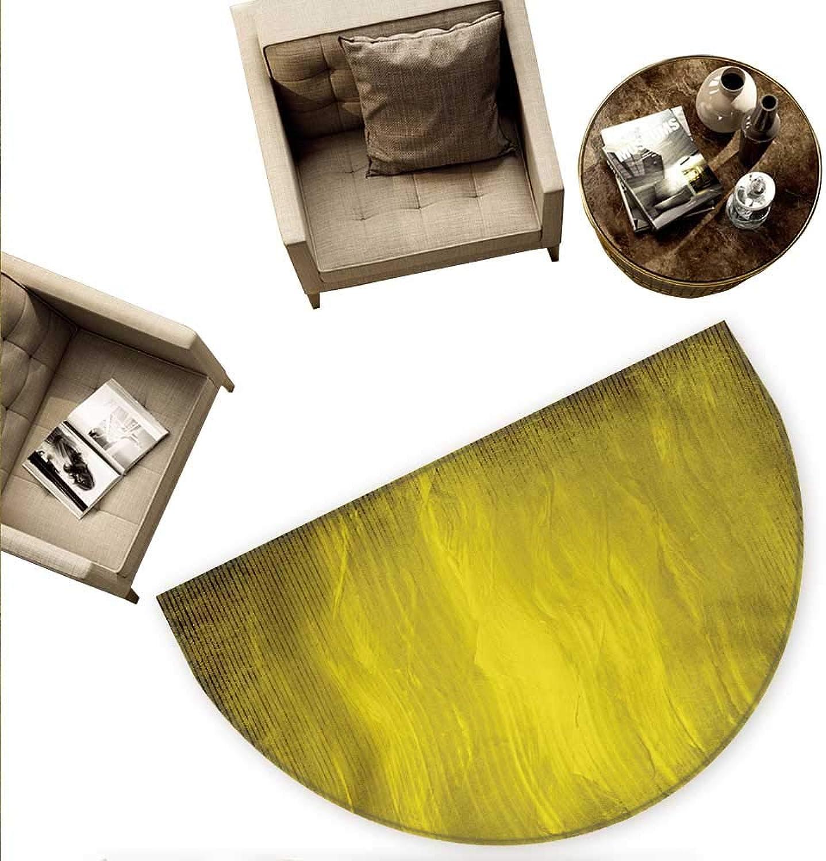 Yellow Semicircle Doormat Abstract Retro Design Artwork with Wavy greenical Lines Simple Modern Design Halfmoon doormats H 55.1  xD 82.6  Green Olive Green