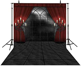 Allenjoy 6.5X10ft Halloween Dark Night Red Curtain Backdrop Gothic Rain Window Vampire Photography Background Candles Scary Hallowmas Party Banner Portrait Photo Booth Studio