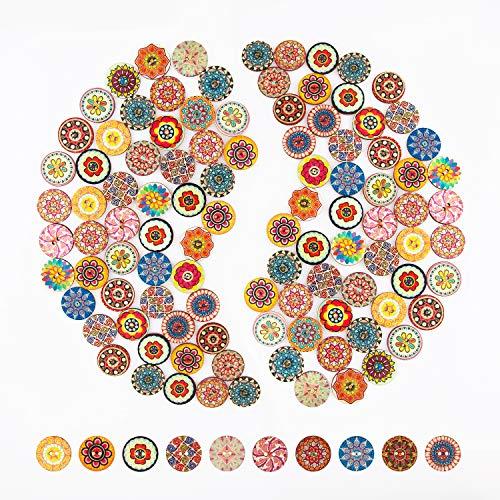 AIEX 100 Stück Blumenmalerei Knöpfe Runde Holz Knöpfe Retro Knöpfe für Nähen Basteln (25mm)