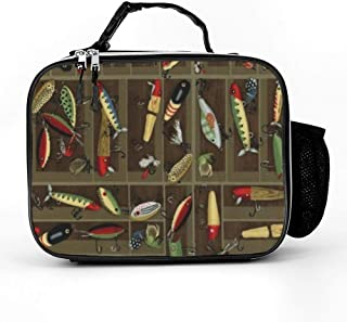 Vintage Fishing Lure Style Lunch Box with Padded Liner, Spacious Insulated Lunch Bag, Durable Thermal Lunch Cooler Pack for Boys Men Women Girls Adults