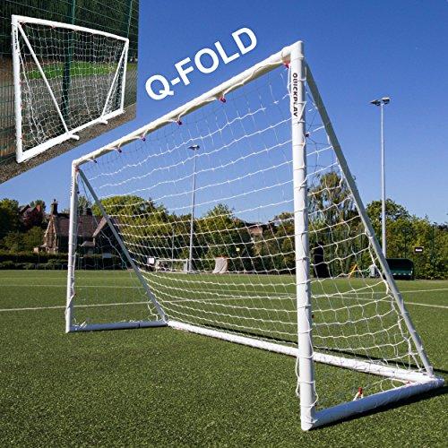 QUICKPLAY Q-Fold | Das Faltbare, innerhalb von 30 Sekunden aufstellbare Fußballtor für den Garten [Einzeltor] wetterfeste Fußballnetz für Kinder und Erwachsene - 2 Jahre GARANTIE