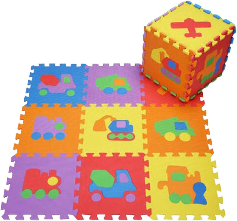 10 PCS of Waterproof Crawling Puzzle Foam Mats Kids&Baby Foam Play Mats, colorful Vehicle