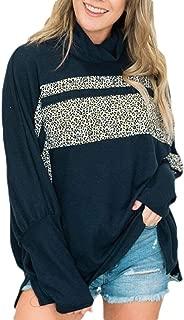 Macondoo Women Autumn Contrast Turtleneck Pullover Oversized Sweatshirts