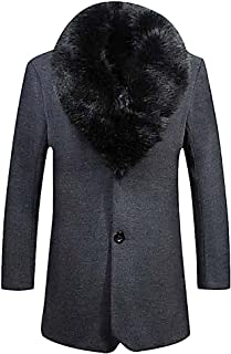 Men's Elegant Removavble Faux Fur Collar Single Breasted Warm Trench Coat
