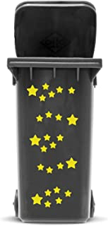 STICKER SET: STARS - 25 star sticker in 2 sizes | Self adhesive Star Sticker Kit for Wheelie Bin and House Decoration | Vinyl Waste Container Decals | UV & Weatherproof, font colour:white