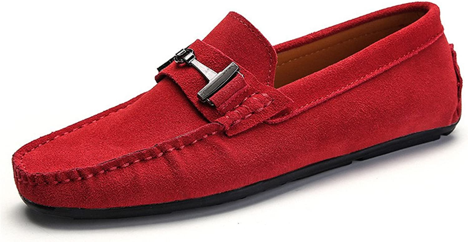 Men's Driving Loafers Suede Genuine Leather Penny Moccasins Studs Sole with Metal Button Decor (color   Red, Size   7 MUS)