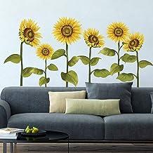 decalmile Muurstickers Zonnebloem Muurtattoos Tuin bloem Wanddecoratie Slaapkamer Huiskamer Kantoor Huis Decor