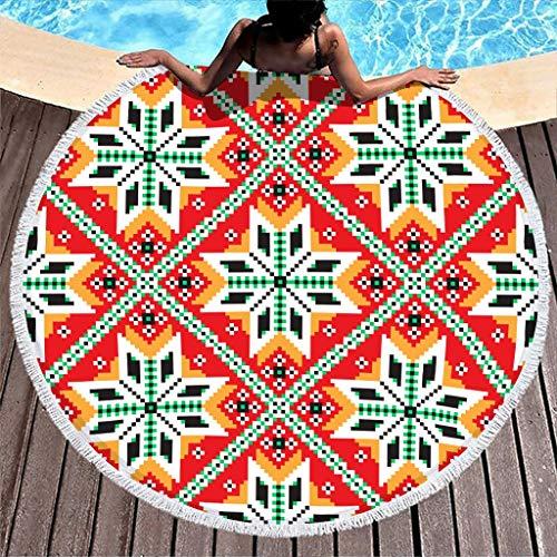 Egipto India Maya Patchwork - Toalla redonda de playa, manta de picnic, toalla de baño para hombre y mujer de microfibra absorbente, con flecos, 150 cm