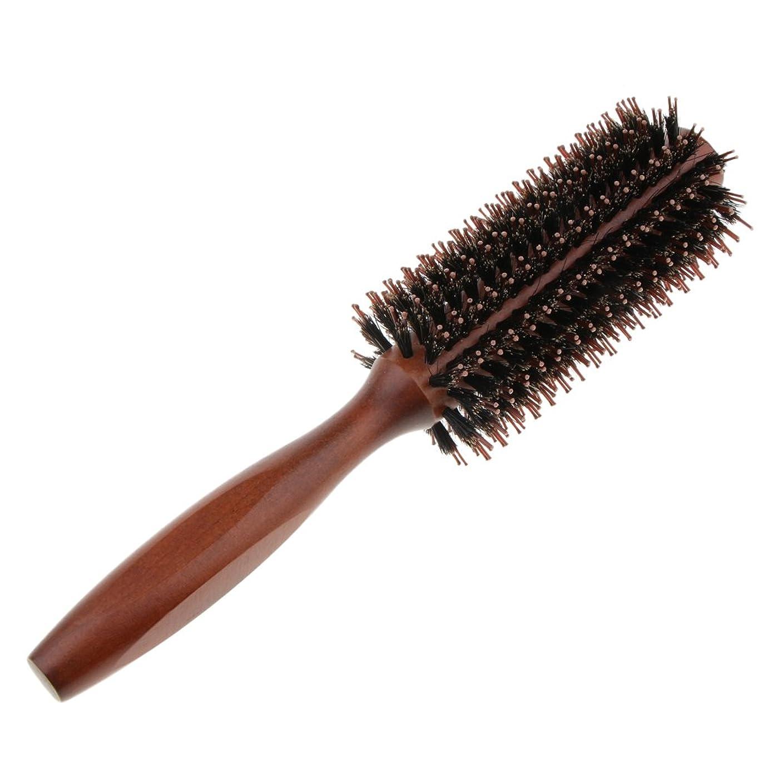 ナチュラル行商人知り合いになる全2タイプ ヘアブラシ ロールブラシ カール 巻き髪 静電気防止木製ハ ンドル 整髪 耐熱仕様 - #1