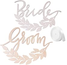 LUOEM 2pcs Wooden Bride Groom Chair Signs with Wheat Wedding Chair Hanging Decorations