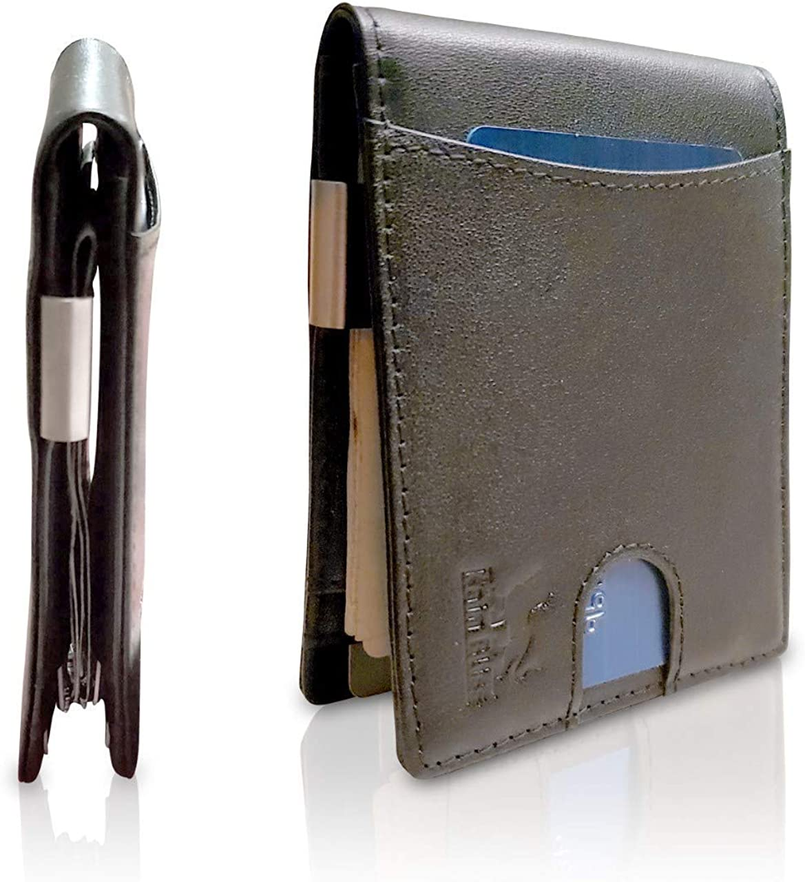 Money Clip Wallet with Coin Pocket RFID Block Genuine Leather
