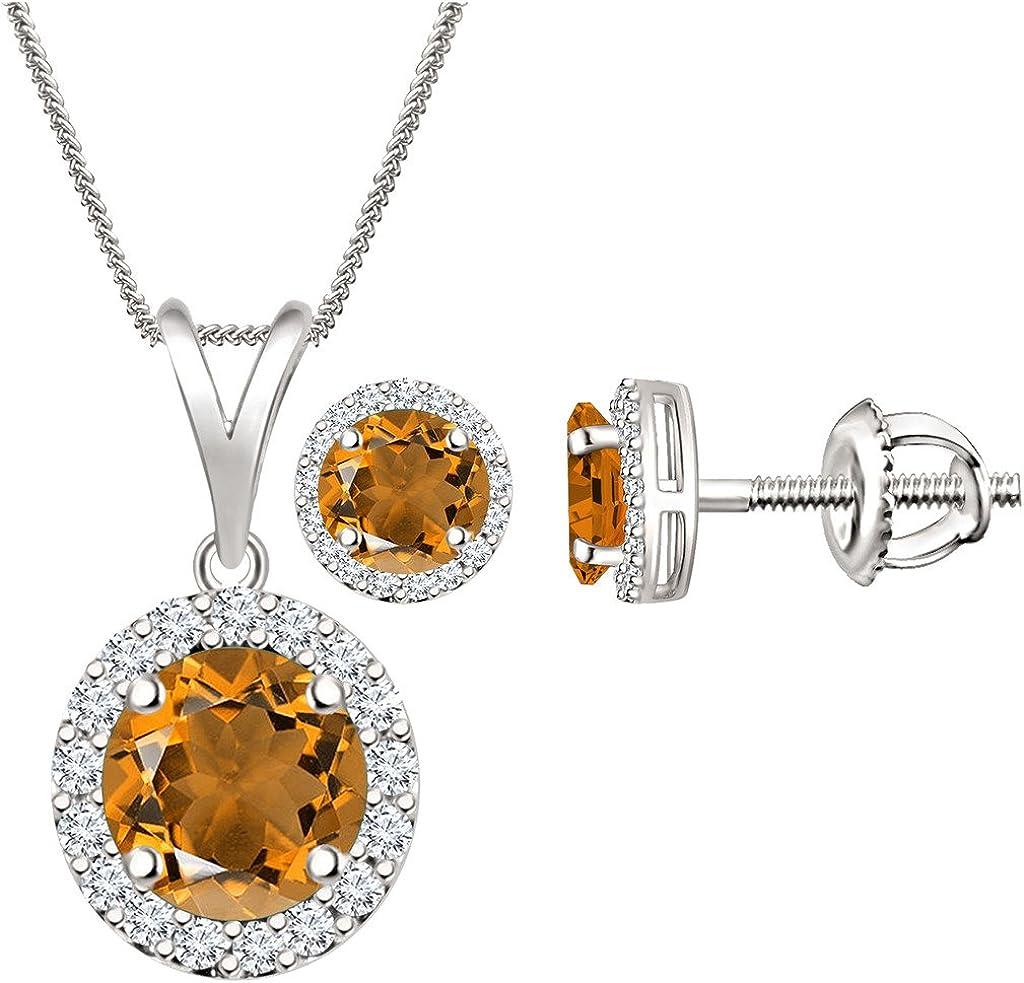 Orange Citrine Cubic Zirconia Halo Earr Necklace Pendant Genuine Free Shipping 18