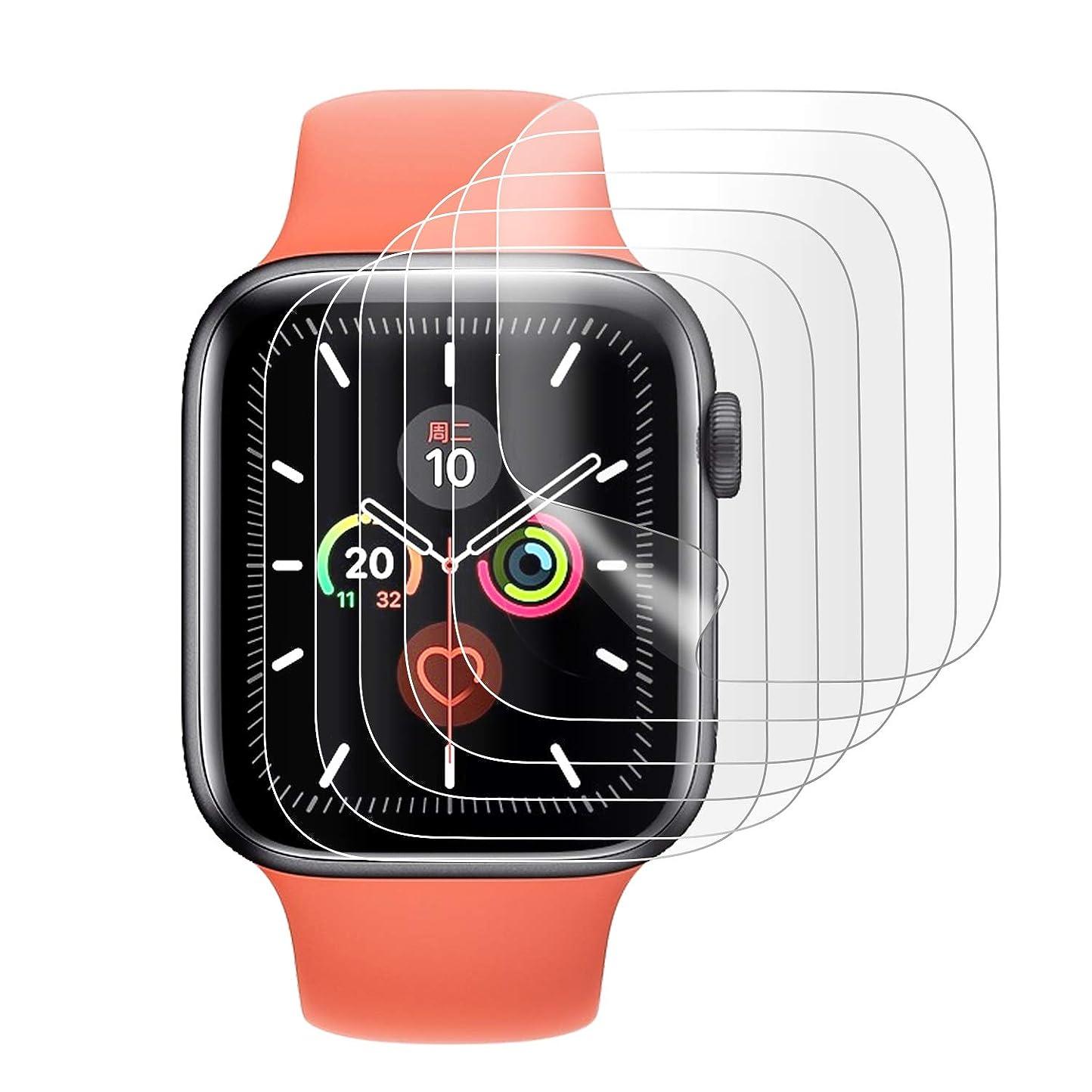 大陸売り手酸っぱいELTD apple watch 5 フィルム 6枚入り apple watch series 5 44mm 保護フィルム 耐指紋 高透過率 気泡ゼロ