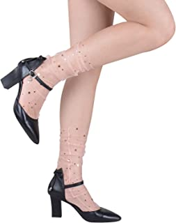 Fashion Women's Sheer Socks Cute Glitter and Stars Transparent Tulle Mesh Ankle Lace Starry Decorated Slouch Socks