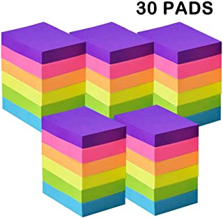 Sticky Notes 1.5 x 2 Inches - 6 Bright Color Self-Stick Notes - 30 Pads/Pack, 100 Sheets/Pad - Easy Post Notes for Office, School, Study, Home, Daily Life (Yellow, Green, Blue, Orange, Pink, Purple)