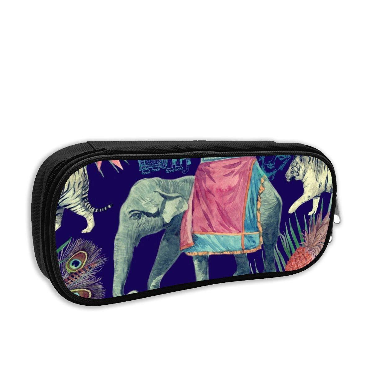BFGTH Elefante indio Tigres Hojas Estuche para lápices Estuche duradero Bolso para oficina escolar Mujeres Hombres Estudiantes Adolescentes Niños: Amazon.es: Oficina y papelería