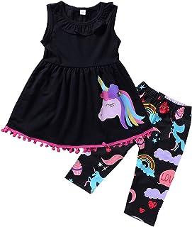 2Pcs Abbigliamento Ragazze Pony Senza Maniche Camicia Vestito Top Pantaloni Ritagliati Vestiti Set