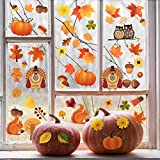Thanksgiving Window Clings Decorations, Autumn Decal Stickers with Maple Fall Leaves Squirrel Pumpkin Turkey for Thanksgiving Day Patry Room Decoration, 111Pcs