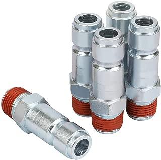 WYNNsky Air Tools Accessories Fittings, 3/8'' MNPT T Type Zinc-Plated Steel Plug, 5-Piece Air Plug with Sealant