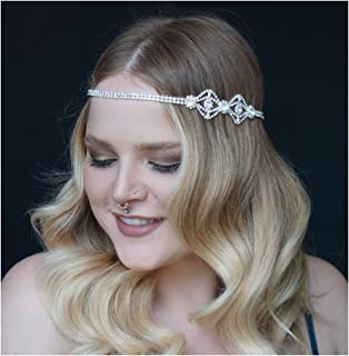 SWEETV 1920s Headband for Women-Silver Rhinestone Flapper Headpiece Accessories for Great Gatsby Party