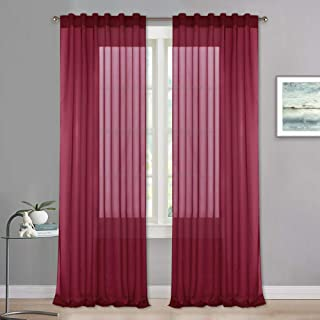 Sheer Curtains 84 inches Long - Home Window Decorating Drapes for Living Room Kitchen Bedroom Sunroom Home Theater Wedding Party, 2 Panels, 54 x 84 per Panel, Burgundy