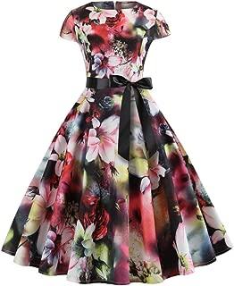 TOTOD Christmas Vintage Dress, Women Elegant Long Sleeve Print Dresses - O Neck Xmas Evening Party Swing Dress