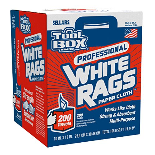 Sellars 58202 ToolBox White Rags Box, 10' x 12' (6 Boxes of 200 Sheets)