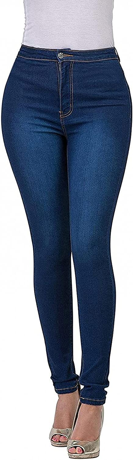 WUAI-Women Plus Size Jegging with Pockets High Wasit Pull-On Stretchy Slim Fit Skinny Jeans Pencil Denim Pant Tights