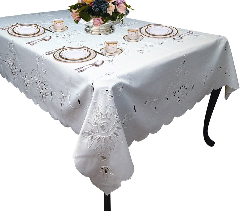 purple Linen Rivierra Embroidered Design Tablecloth, 70  x 140 , White