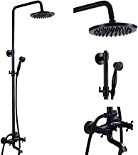Wall Mounted Oil Rubbed Bronze Bathroom Rainfall Shower Faucet System Set Mixer 8-Inch Round Head Double Knobs Cross 2Hand...