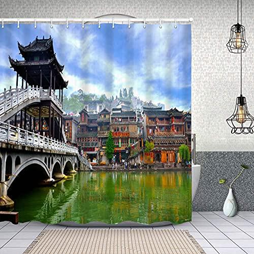 Cortina de Baño con 12 Ganchos,Casas Antiguas en el Condado de Fenghuang en Hunan, China,Cortina Ducha Tela Resistente al Agua para baño,bañera 180X180cm