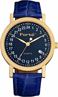 24 Hour Blue Dial Men's Gold Plated Army Date Watch 2003B24-GB - Real 24-Hour Movement - 24