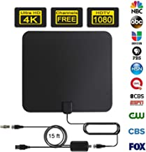 Oliomp Digital Amplified Indoor HDTV Antenna 85-110 Miles with Signal Booster Support 4K HD VHF UHF Freeview TV Aerial USB Power Adapter - Black