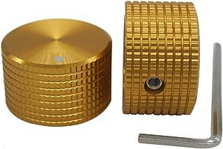 Taiss/ 2pcs Golden color Aluminum Rotary Electronic Control Potentiometer Knob For 6 mm Diameter Shaft, Volume Control Knob, Audio knob, Electric Guitar Knobs,Switch Knob, 25mm dia. x 15mm height