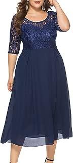 Eternatastic Women's Floral Lace Long Sleeve Plus Size Lace Dress Red