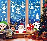 UMIPUBO - Adhesivo decorativo para ventana, diseño de copos de nieve con Papá Noel, autoadhesivo estático extraíble para decoración del hogar (289 piezas)