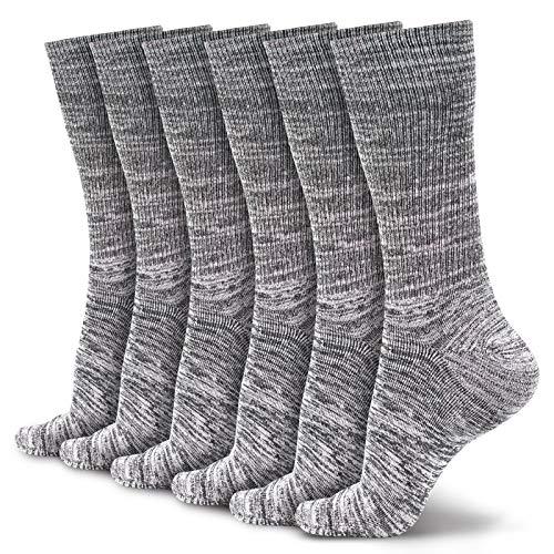 LIN Mens Athletic Socks 6 Pack, Bamboo Extra Full Cushion Heavy Duty Work Boot Socks Moisture Wicking Running Hiking Athletic Crew Socks, Dark Grey