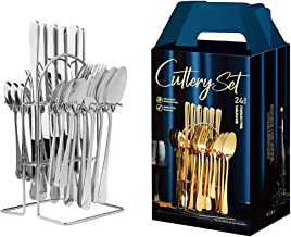 Arabest 24 Piece Silverware Flatware Set With Stand,Stainless Steel Utensils Service set for 6,Mirror Polished Cutlery Se...
