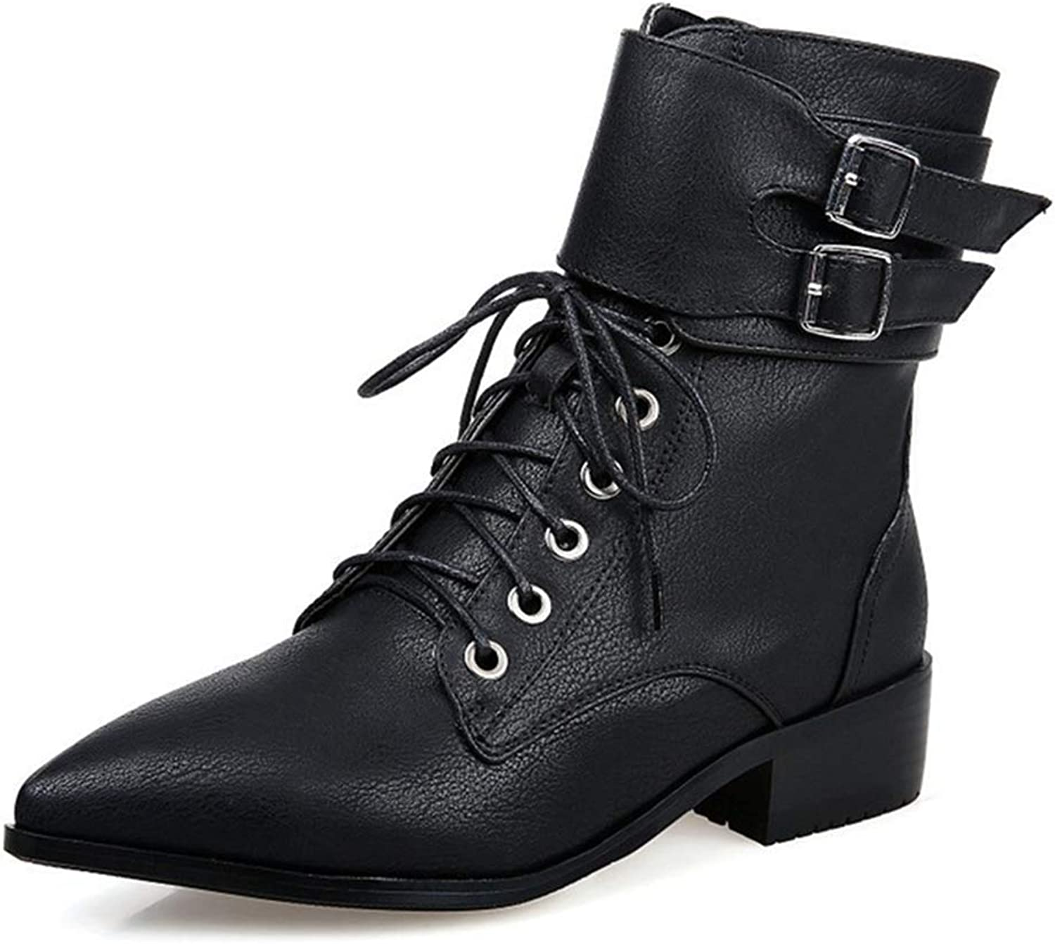 Beautiful - Fashion Women's Chelsea Buckle Ankle Boots Combat Pointed Toe Lace Up Zip Low Heel Western Riding Short Bootie