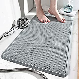 Bathtub Shower Mat Non-Slip with Suction Cups & Drain Holes Bath Mat Antibacterial Machine Washable Bathroom Rug for Kids ...