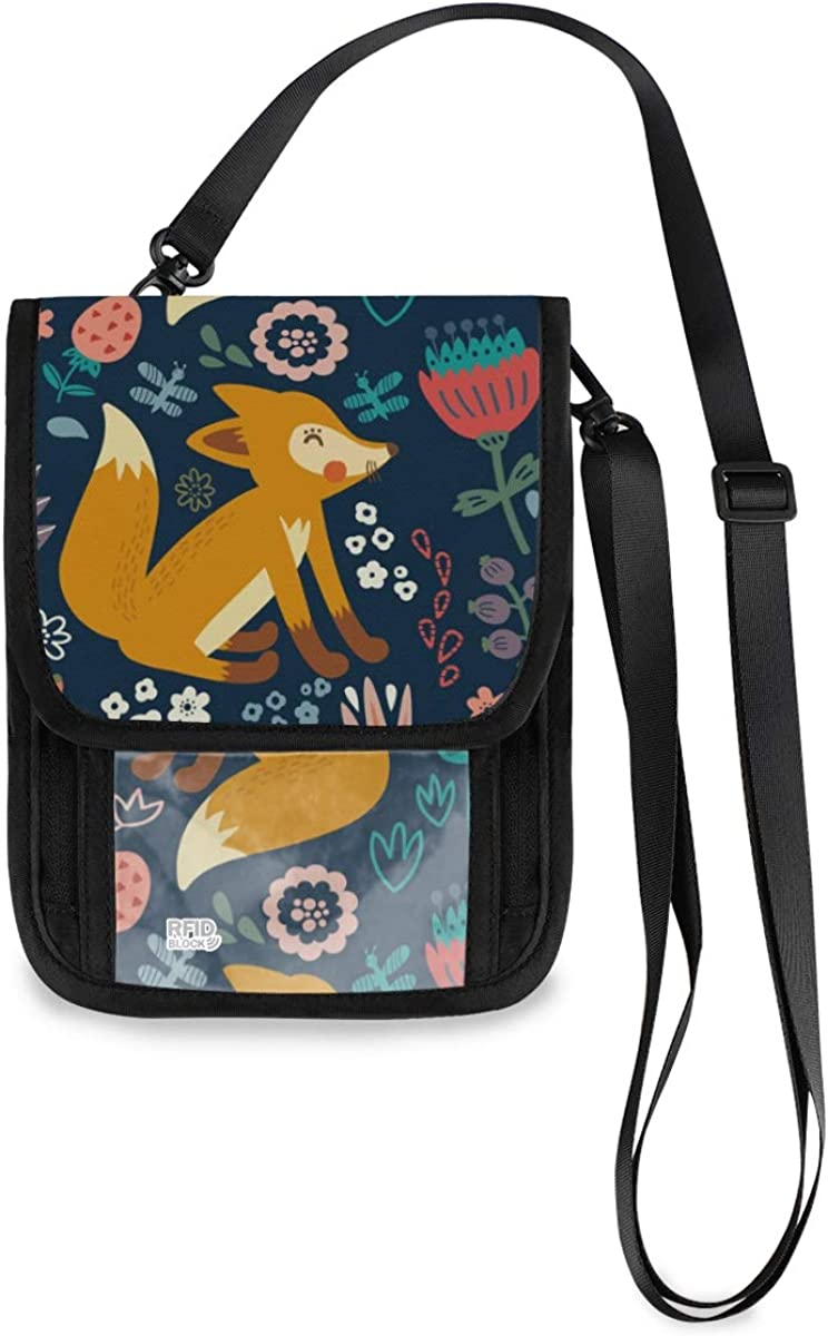 VIKKO Autumn Forest Fox Flower Travel Blo Neck Wallet RFID Inventory cleanup NEW before selling selling sale With