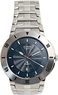 Casual Watch for Men by Accurate, Silver, Round, AMQ1357