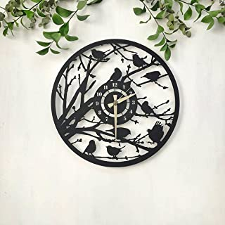 Wallcentre Art Beyond Imagination Mild Steel Bird Silient Metal Wall Clock for Home, Office, Living Room Decor (Black, Siz...