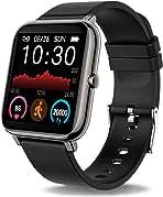 ساعت هوشمند Donerton ، ردیاب تناسب اندام برای تلفن های اندرویدی ، ردیاب تناسب اندام با ضربان قلب و مانیتور خواب ، ردیاب فعالیت با ساعت هوشمند گام شمار ضد آب IP67 با شمارنده گام برای زنان مرد