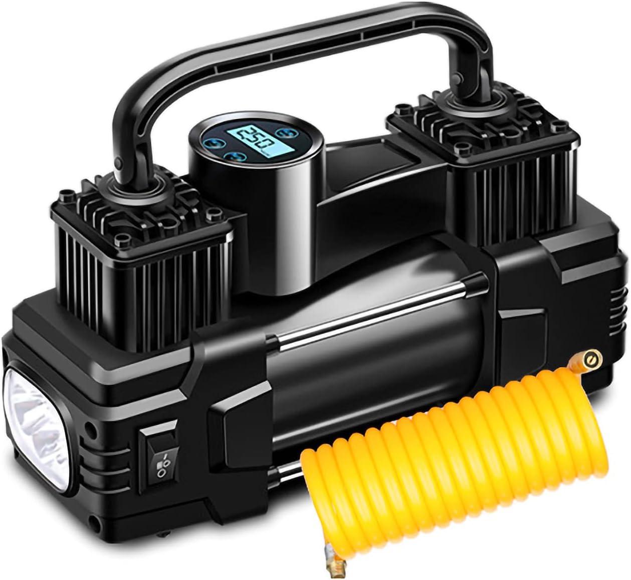 Inflador de neumáticos digital, bomba inflable con cable de 12 V / 24 V, doble cilindro, control de presión de neumáticos de inflado rápido con bomba de aire ligera para coche